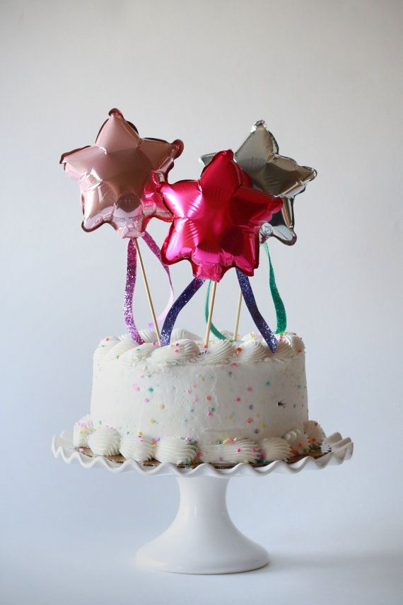 Mini Foil Mylar Star Balloon With Tassels Cake Topper