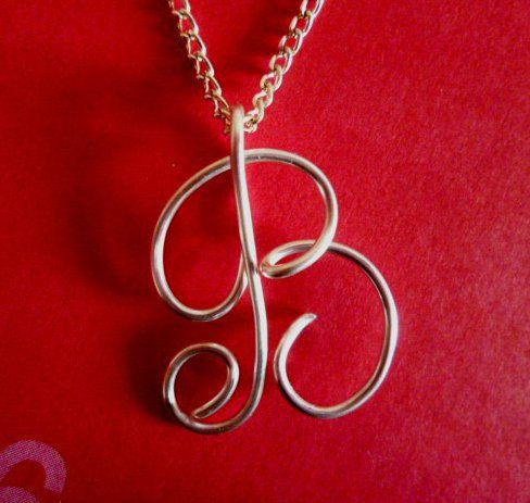 Custom Initials Necklace Silver Wire Charm by CreativeStamps, $14.99