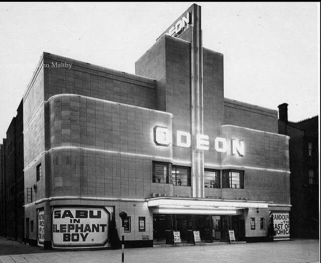 Balham Odeon Exterior Night. Shot from 1938 : now a majestic wine warehouse and 'foyer apartments' in the place where the auditorium used to be prior to..demolition.