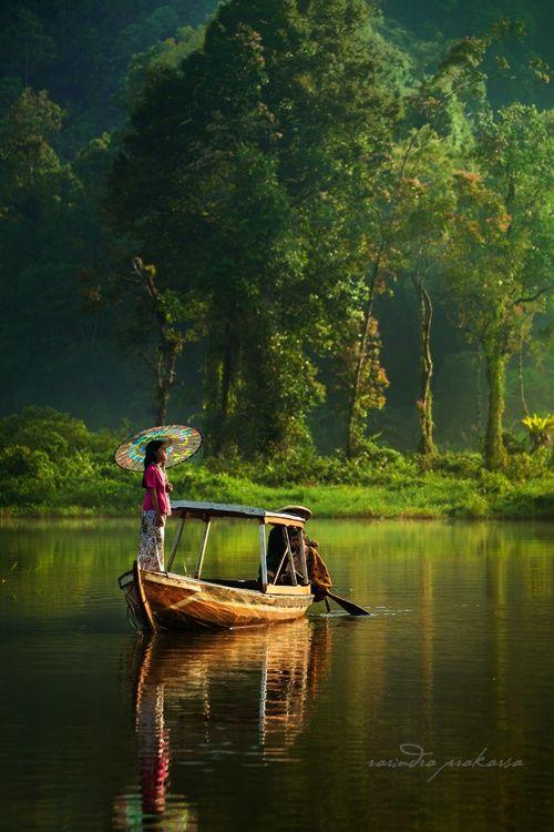 Girl in a Lake, Java, Indonesia