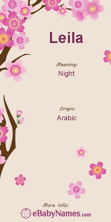 "Meaning of Leila: Leila is a variant of the Persian name Layla, which means ""night"" in Arabic"