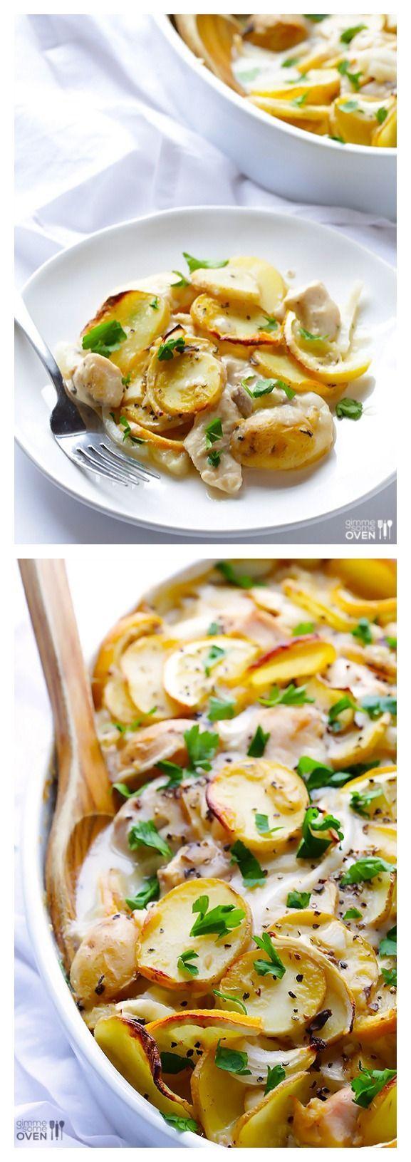 Easy Lemon Chicken Potato Casserole -- one of my family's favorite recipes! | gimmesomeoven.com #easy #recipe #dinner