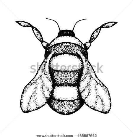 #Vector #image of #bumblebee. Hand drawn by #ink, black and white color. #pointillism
