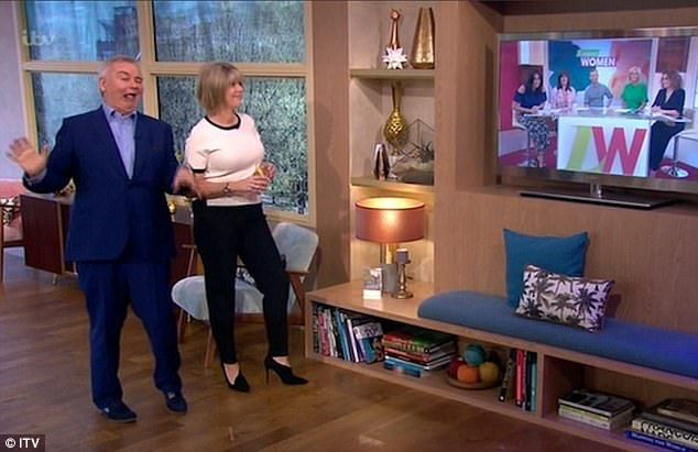 Having a laugh: Eamonn Holmes, seen with wife Ruth Langsford, raised laughs when he enjoyed a few sips of gin while guest presenting This Morning on Friday