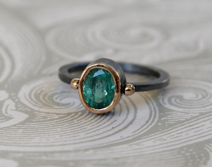 Rustic  Hammer Forged 22k Oxidized Sterling Silver 1.15 ct Zambian Emerald Panna Gemstone Band