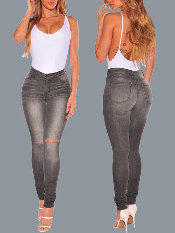 Compre Calça Jeans Skinny Feminina Escura Rasgadinha | UFashionShop