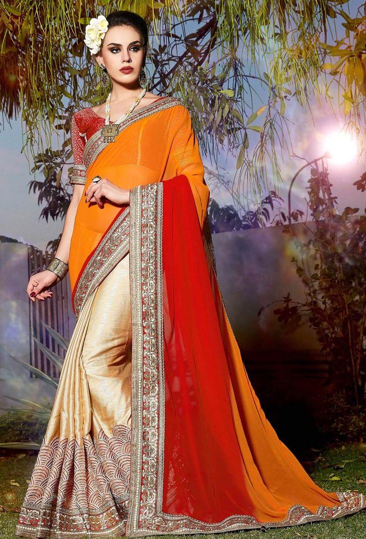 Pink,Red #Georgette,#Chiffon Half N Half #Saree #nikvik  #usa #designer #australia #canada #freeshipping #sari