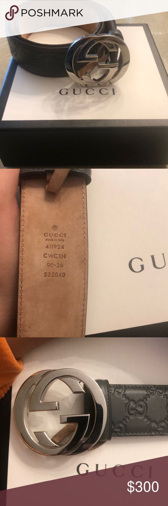 Authentic Men's Gucci belt Authentic men's Gucci belt Size 36 ( in Gucci ) 32-34 in US charcoal grey color  in great condition worn once Gucci Accessories Belts