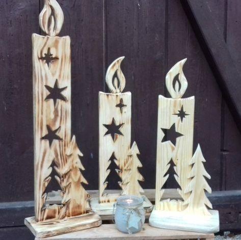 Einzeln oder zusammen, diese wunderschöne Weihnacht Kerzen aus Holz, lassen sic