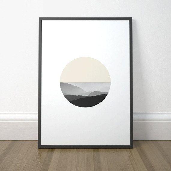 Modern Circle Art, Scandinavian Circle Art, Minimalist Mountain Print, Minimalist Circle Mountain Art, Instant Download, Digital Print