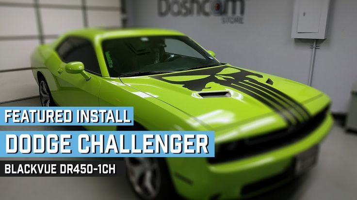 Meet the finished product of our latest dashcam install: A BlackVue DR450-1CH dashcam installed in a Punisher-Inspired 2015 Dodge Challenger in sublime green. Yes, that's the actual name of the color and yes, that's a 5.7L HEMI motor under the hood.  This dashcam install was performed by The Dashcam Store technicians at our headquarters in Austin, Texas.
