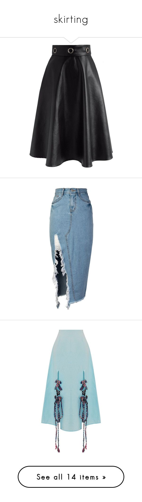 """""""skirting"""" by rstudg ❤ liked on Polyvore featuring skirts, black, a line slip, faux leather a line skirt, chicwish skirt, fake leather skirt, vegan leather skirt, bottoms, denim skirt and knee length denim skirt"""