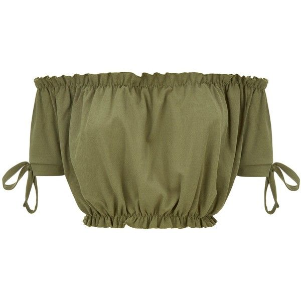 Cameo Rose Khaki Frill Trim Bardot Neck Crop Top ($16) ❤ liked on Polyvore featuring tops, crop top, green crop top, cut-out crop tops, rose top and rosette top