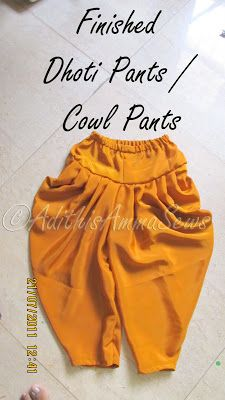 For Sale - Kids Custom Clothing From Adithis Amma Sews- Click Here        Dear Readers,   Here is the Dhoti Pant / Dhoti Salwar / Cowl Pant...