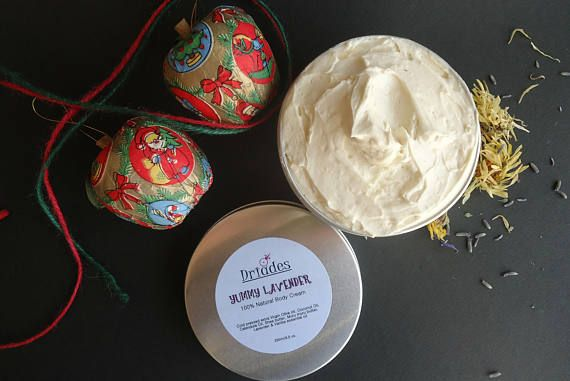 Whipped body butter. Delicious Vanilla and Lavender all Natural, vegan body cream. Shea and Muru Muru butter, Olive and Calendula oil. Smooth, silky soft skin and sensual smell. Thank you gift for women clients. Christmas gift for wife, girlfriend, lover. Bridal luncheon favors. Christmas gift ideas for mom, nana, sister, daughter and best friend. Fresh,  handmade by Driades https://www.etsy.com/listing/550303850