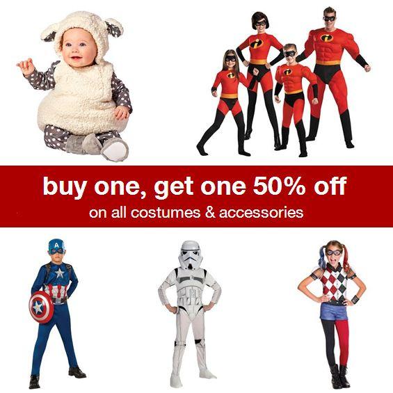 Target Halloween Costume Sale : Buy 1, Get 1 50% off  http://www.mybargainbuddy.com/target-halloween-costume-sale-buy-1-get-1-50-off