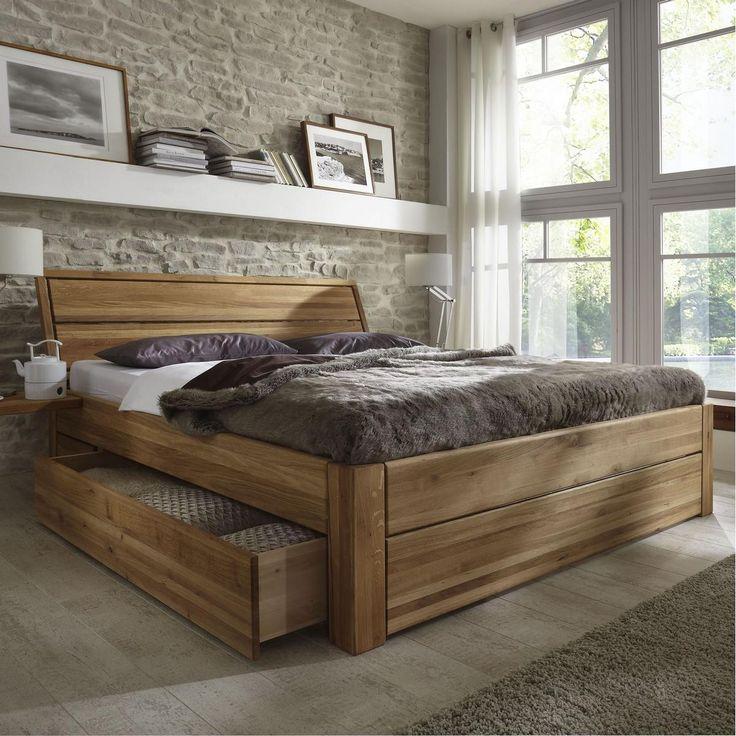 massivholz schubladenbett 180x200 holzbett bett eiche massiv geölt, Badezimmer