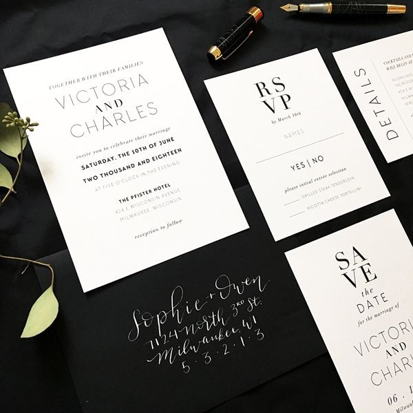 Black and white modern wedding invitations for Halloween wedding