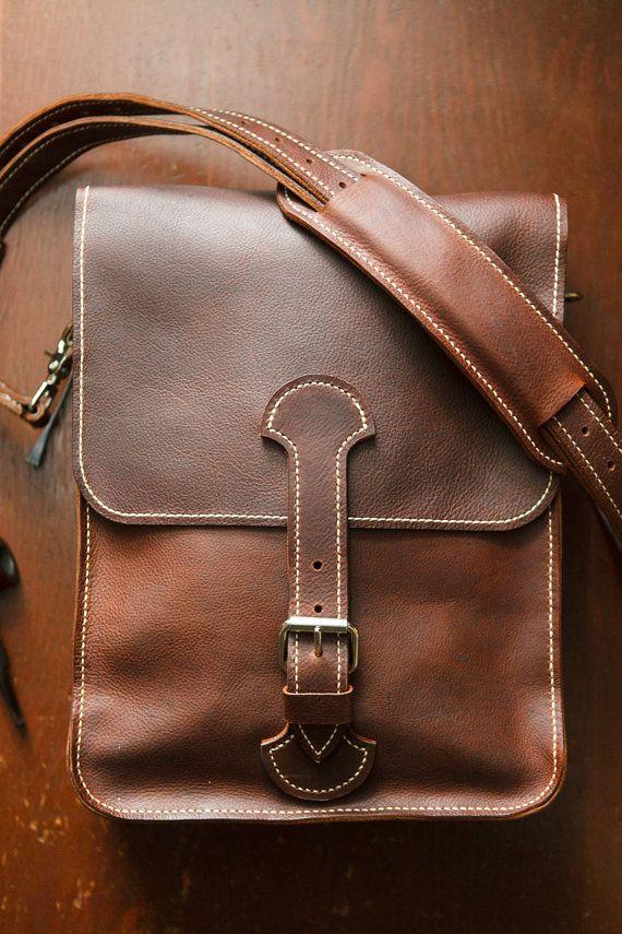 Soft Leather Men's Messenger Bag leather satchel by TrimGoTrix