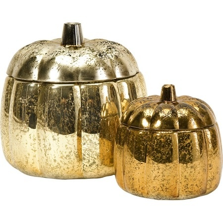 Mercury Glass Pumpkin Containers.: