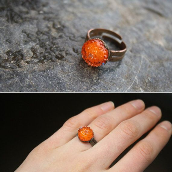 DragonGlass bright tangerine ring in copper and от LikeAGlassShop