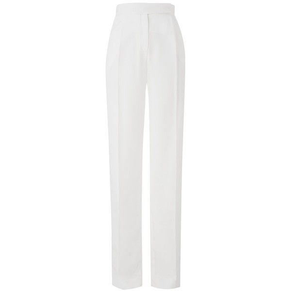 Amanda Wakeley Oraibi White Pant ($125) ❤ liked on Polyvore featuring pants, tailored, white, high-waist trousers, tailored pants, white trousers, pleated pants and pleated wide leg pants