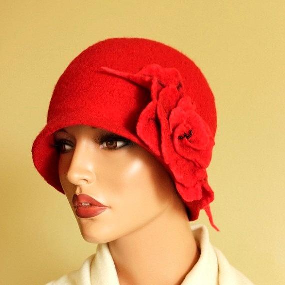 Red hat with  red brooch felt hat  merino wool  by ZiemskaArt, $99.00