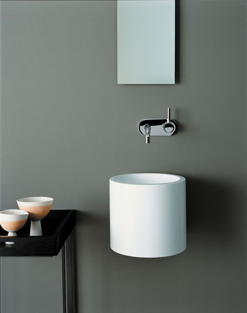 Alape's WT.RS325 wallhung basin is perfect for compact cloakrooms with its curvaceous design and white gloss finish. It is made from glassed steel, which is shock, stain and heat resistant and costs from £602.