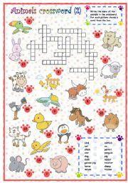 English teaching worksheets: Animals crossword