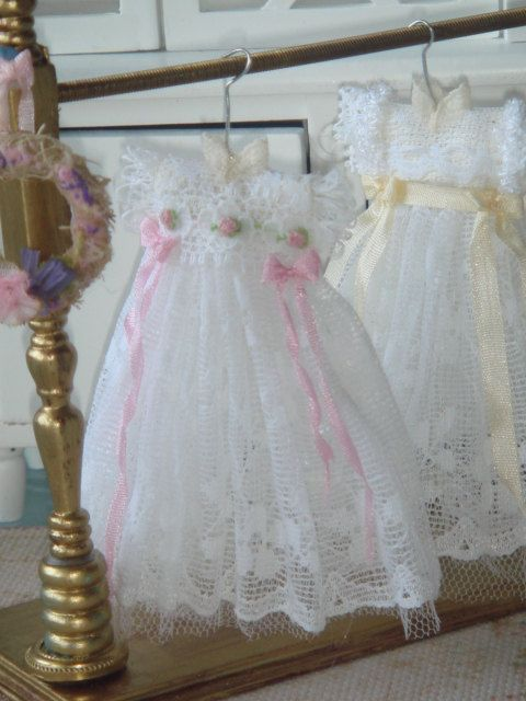 Dollhouse Christening gown. Embroidered by by ANABELAMINIATURES, €12.00