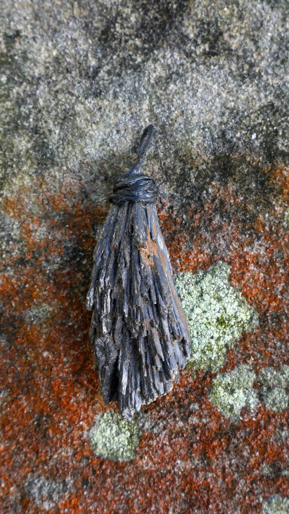 Black kyanite raw crystal necklace pendant