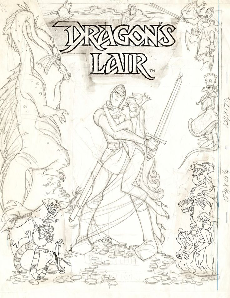 Don Bluth original drawing for Dragon's Lair poster