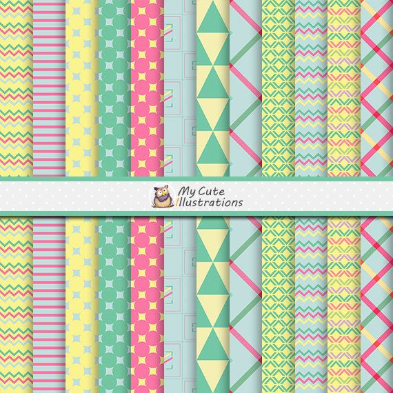 Yellow Chevron Papers / Circles Digital Papers / Seamless Classic Patterns…