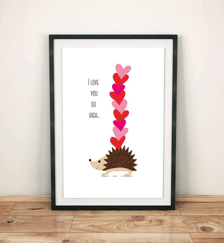Poster print hedgehog with hearts, kids room, leving room, wall art decor, I love you, Valentine's day, simple design, graf poster by GrafPoster on Etsy