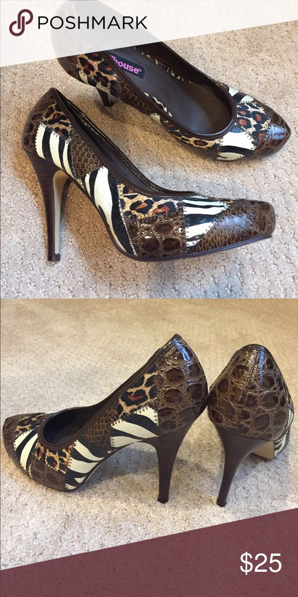 Dollhouse animal print high heels Size 7.5 Dollhouse animal print high heels. 4 inch heel. Worn only once. Dollhouse Shoes Heels