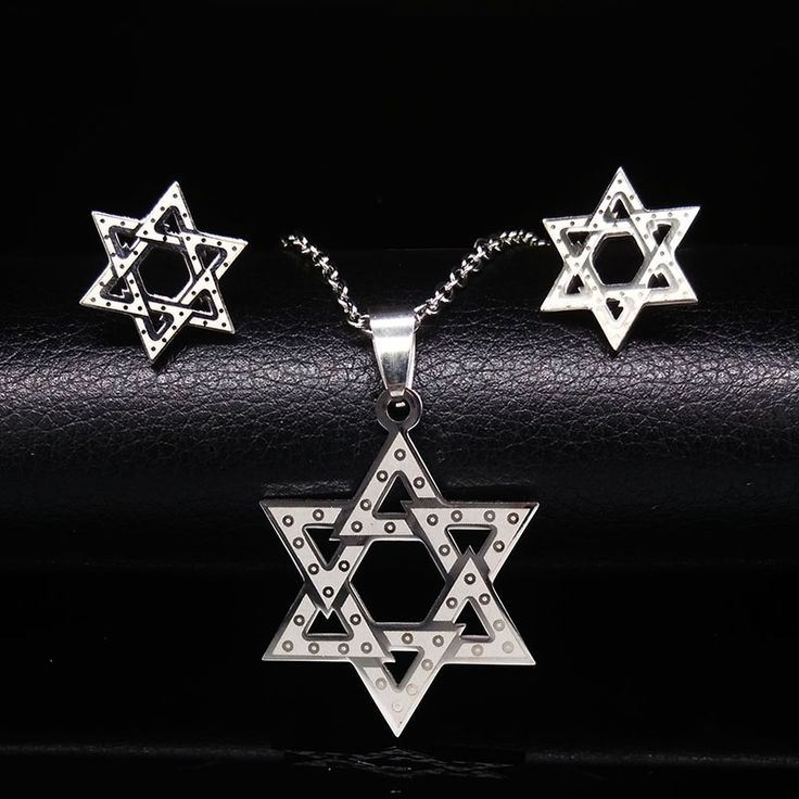 Israel Hexagram Star Statement Necklace and Earrings Jewelry Sets Stainless Steel Jewerly Set For Women conjunto de joyas #Affiliate
