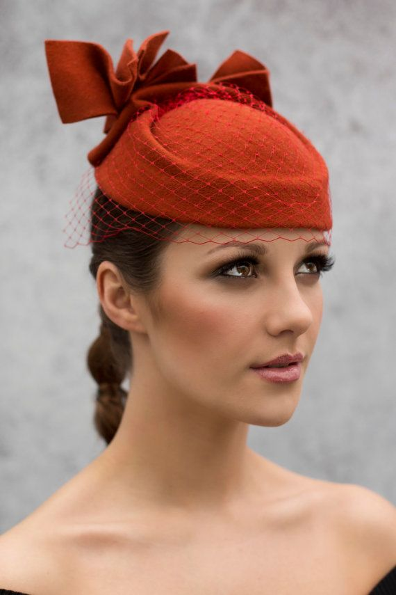 Tail Hat In Burnt Orange With Veil By Maggiemowbrayhats