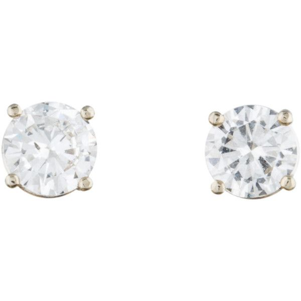 Pre-owned 1.07ctw Diamond Stud Earrings (£1,560) ❤ liked on Polyvore featuring jewelry, earrings, white, white diamond earrings, 14k stud earrings, stud earring set, white jewelry and monarch butterfly earrings