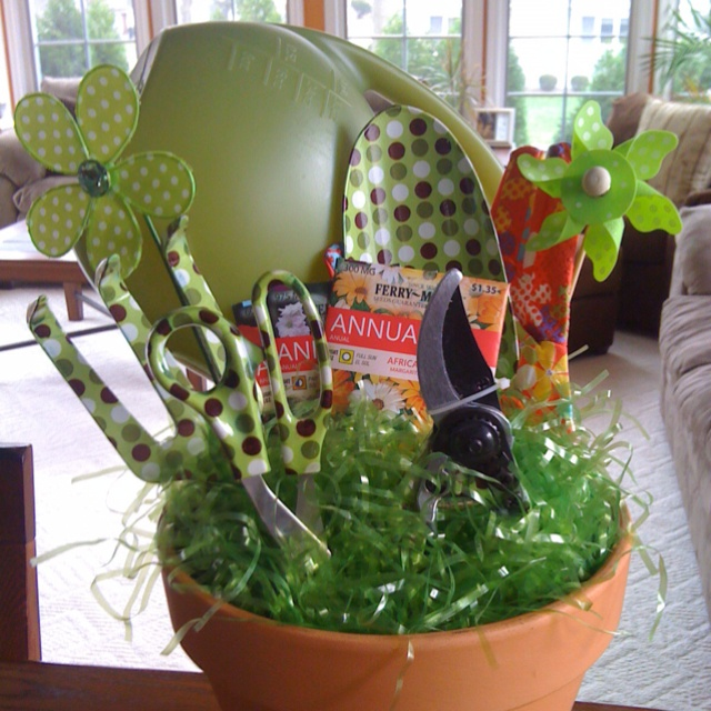 Garden tools charity gift basket for auction. From lime green watering can to polka dot shears, it's down in the dirt adorable.