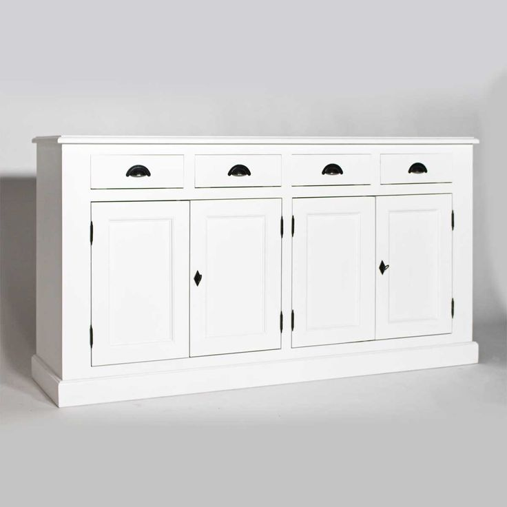 enfilade blanche 4 portes 4 tiroirs en bois massif blanc 175 cm places cuisine and style. Black Bedroom Furniture Sets. Home Design Ideas