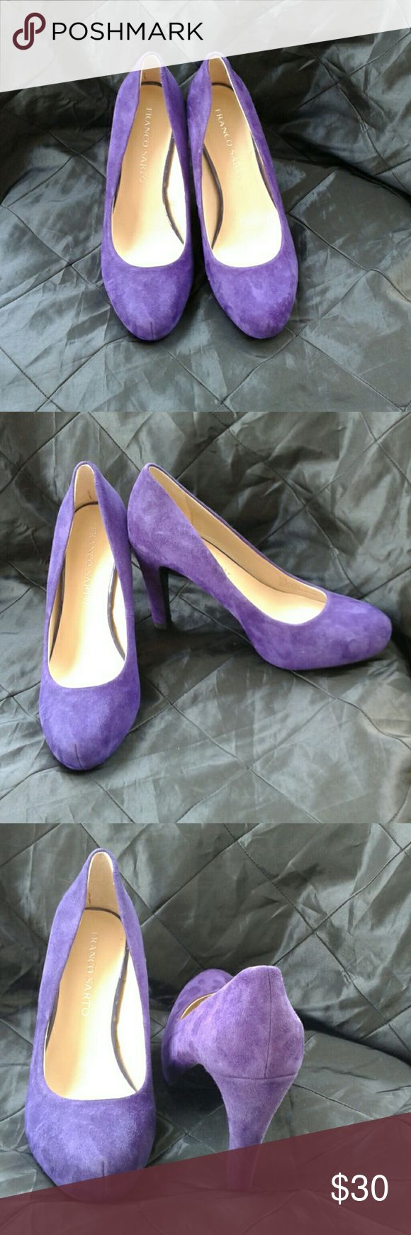 "FRANCO SARTO ""CICERO"" PURPLE SUEDE PLATFORM PUMPS PURPLE SUEDE PLATFORM PUMPS, 4"" HEEL, .075 PLATFORM, WITH HIDDEN WEDGE, RUBBER SOLE, MAN MADE LINING, GREAT PRE-LOVED CONDITION NO SIGNS OF WEAR NO FRANCO SARTO Shoes Platforms"