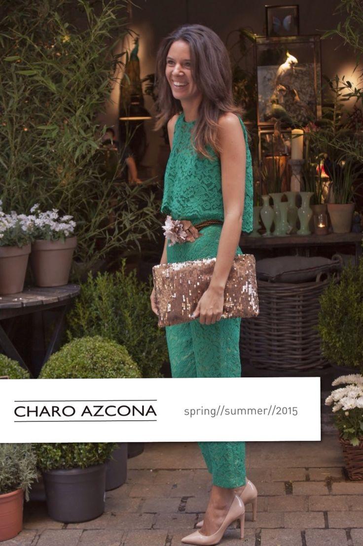 Jumpsuit de encaje verde. Charo Azcona S//S 22015