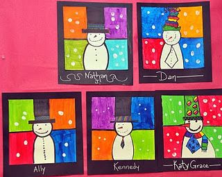 Students created these wonderful snowmen in class. Students objective was to create a snowman with a fun (and Tall) hat. Students used markers to draw their snowman on the first day. On the Second day they used bright color paint to fill in the four equal squares of the background. The last part of the project was the best. Students dipped their fingers in white paint to add the snow.