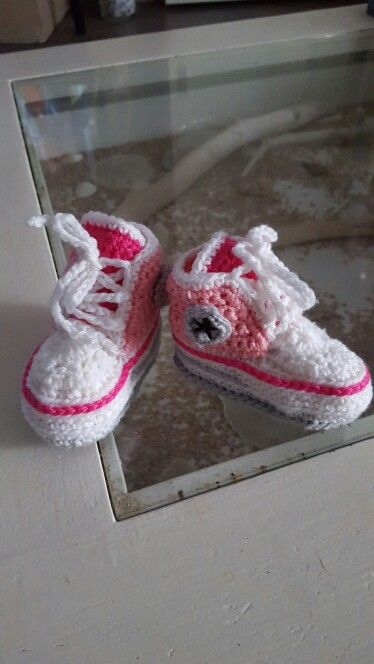 Crocheted baby Converse sneakers