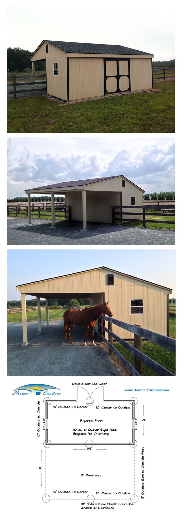 """shed with a twist"" - 10x20 storage shed with a 12' overhang on the back to provide a shady spot for their horse."