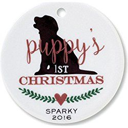 Puppy's 1st Christmas Personalized Round Ornament by Lillian Vernon