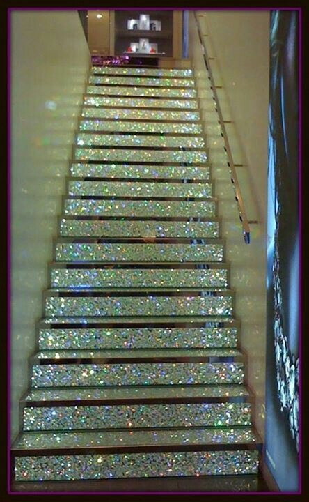 The coolest staircase I've ever seen in my life!!! Want! Love sparkles!