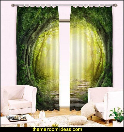 Woodland Corridor Print Blackout 3D Curtain Forest Theme Bedrooms    Woodland Forest Theme Bedroom Fairies Decor