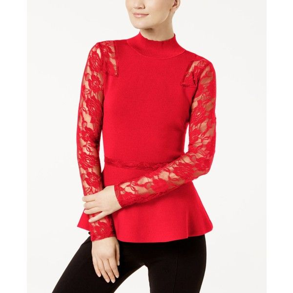 INC Lace-Sleeve Peplum Sweater, Created for Macy's ($80) ❤ liked on Polyvore featuring tops, sweaters, real red, inc international concepts sweater, lace sleeve top, red peplum top, long-sleeve peplum tops and red top