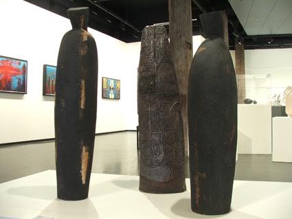 #3 Wi Taepa's Kaitiaki figures (left and right) and pou (centre)